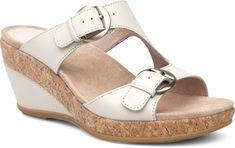 0e77819b58 Dansko Carla Wedge Sandal: Ivory Full Grain Dansko Shoes, Shoe Shop, Real  Leather