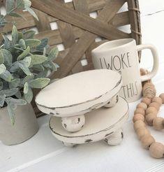Mini pedestal, Rae Dunn Inspired, mug stands, wood decor, farmhouse kitchen Mini riser