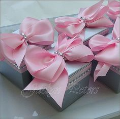 #WeddingFavor Box, #SilverAndPink, Custom Colors Are Our Specialty! by Jaclyn Peters Designs