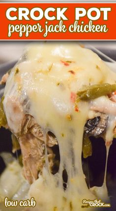 This Crock Pot Pepper Jack Chicken is one of our family's favorite slow cooker dinner recipes. It is a super simple one-pot crock pot meal. # Food and Drink slow cooker Crock Pot Pepper Jack Chicken Pepper Jack Cheese, Pepper Jack Recipe, Shredded Bbq Chicken, Bbq Chicken Sandwich, Low Carb Recipes, Juice Recipes, Ketogenic Recipes, Healthy Recipes, Stuffed Peppers