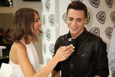"Warner Bros. At Comic-Con International 2014  SAN DIEGO, CA - JULY 26: In this handout photo provided by Warner Bros, Willa Holland and Colton Haynes of ""Arrow"" attend Comic-Con International 2014 on July 26, 2014 in San Diego, California. (Photo by Michael Yarish/Warner Bros. Entertainment Inc.)"