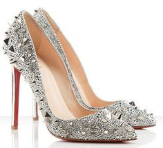 Christian Louboutin - pigalili pointed toe stiletto pumps sliver #wedding #bride #bridal