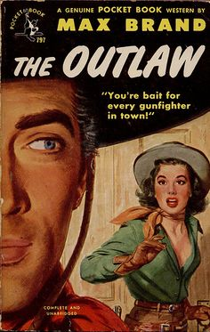 """Cover art by Frank Smith """"The Outlaw"""" (1951) pocket book western by Max Brand."""