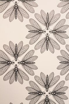 dragonfly/flower textile pattern
