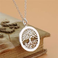925 Sterling Silver Curly Tree of Life Pendant Necklace Trace Chain MULTI SIZES