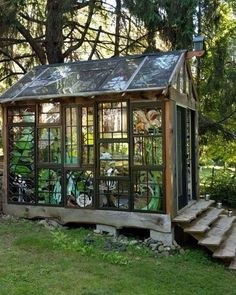 Window greenhouse welcome to the cabin friends fun she shed conversion ideas Old Window Greenhouse, Backyard Greenhouse, Small Greenhouse, Greenhouse Plans, Portable Greenhouse, Greenhouse Wedding, Pallet Greenhouse, Garden Cottage, Home And Garden