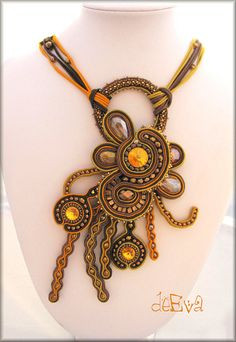 NY 200  SOON  necklace soutache technique by deevadesign on Etsy, $150.00