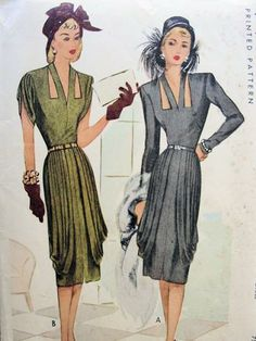Film Noir Cocktail Evening Dress Pattern Stunning Draped Dinner Dress, Cut Out Keyholes Neckline McCall 6659 Vintage Sewing Pattern Bust 32 Evening Dress Patterns, Dress Making Patterns, Vintage Dress Patterns, Vintage Dresses, Vintage Outfits, Moda Vintage, Vintage Mode, Elsa Schiaparelli, Pierre Balmain
