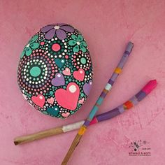 FREE SHIPPING! Hand Painted River Rock - fields of color collection #40 4.5 x 3.5 X 1 - 20 ounces Natural Home Decor - Heart Motif - Garden