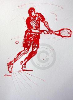 tennis-n-8-dessin-calligraphique-d-ibara-a-l-encre-rouge.jpg - Pintura ©2015 por IBARA -                                                                                    Expresionismo, Papel, Caligrafía, Cuerpo, Deportes, tennis, les hommes rouges, ibara, raquette, sport et art, image tennis, roland garros, wimbledon calligraphy