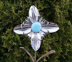 Silverware Garden Flower Blue Stone Plant Pick from Stainless Flatware via Etsy