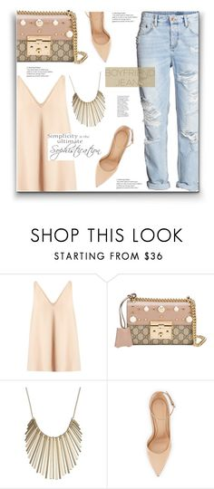 """""""Simplicity -The Ultimate Sophistication"""" by yummymummystyle ❤ liked on Polyvore featuring STELLA McCARTNEY, WALL, Gucci, Jennifer Lopez, Gianvito Rossi, H&M, boyfriendjeans, MyStyle and polyvoreatitsbest"""