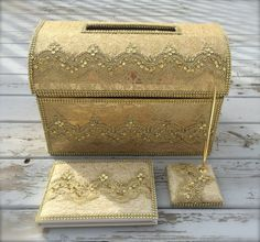 wedding card box, Money holder, envelope holder, moneybox, gold card box, guest book, signing book, gold box