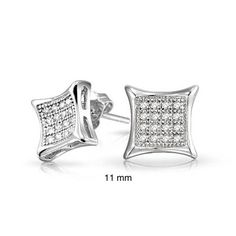 Bling Jewelry Mens Sterling Silver Kite Micro Pave CZ Stud Earrings 11mm…