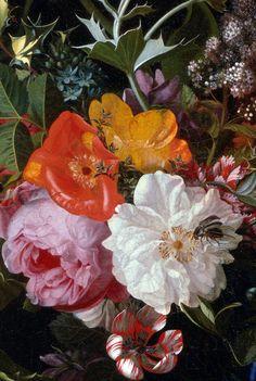 "innerbohemienne:  Bouquet of Flowers in a Vase (detail) ~ artist Maria van Oosterwyck, c.1670; oil on canvas, 29""h x 22""w. Denver Art Museum, Colorado"