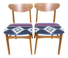 Mid-Century Southwestern Upholstered Dining Chairs - Pair on Chairish.com