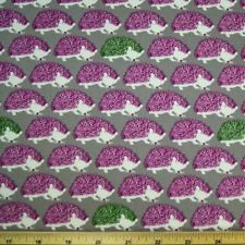 Hedgehogs In Lines Green And Cerise On Grey 100% Japanese Cotton Linen Fabric