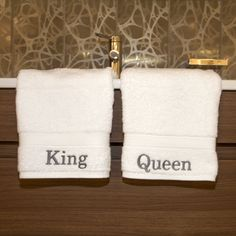 Garnish your bathroom with these royally-styled Turkish-cotton hand towels. One towel is personalized with 'King' and the other states 'Queen.' Both high-quality towels will become softer and more absorbent over time and won't shed or flake.