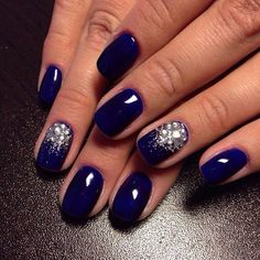 Blue glitter nails, Festive blue nails, Ideas for short nails, Ideas of evening nails, Nails with rhinestones, Nails with rhinestones ideas, New Year nails 2017, Plain nails