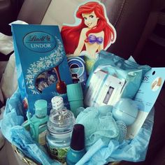 """I hope you have a """"Teal""""-riffic birthday! Gift basket for my friend full of goodies that are teal, her favorite color!"""