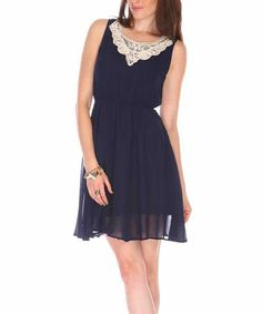 Love this Blue & White Lace Appliqué Sleeveless Dress by Fuchhi Style on #zulily! #zulilyfinds