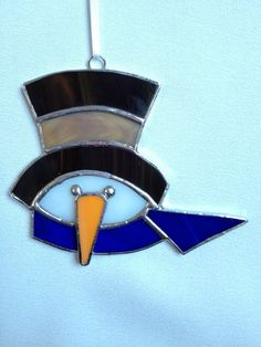 Stained Glass Ornament Snowman with Hat and Scarf by MamaAgees