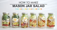 Mason jar salads are just that a salad in a mason jar. I'm not sure who came up with this concept, but I think it's genius. Storing the salad in a glass (mason) jar keeps it fresh for 5-7 days.