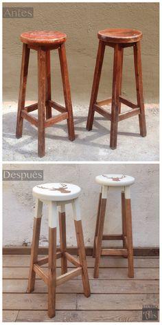 Antes y después. Dos taburestes blanco y madera dip dye con dibujo de reno. Studio Alis - Barcelona