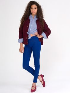"""American Apparel - Easy Jean. Got these high waist-ed jeans in a burgundy color. Its great because you can wear cropped tops without showing too much midriff and if you want """"normal"""" jeans you just wear a long shirt or tunic."""