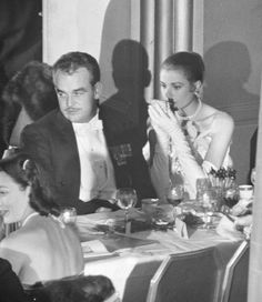 1956 - The engagement party of Grace Kelly and Prince Rainier at the…