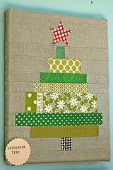 Patchwork Christmas Tree. This could be done with paper strips also. Easy for children to do!