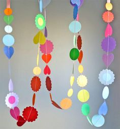diy party decorations - make candy shapes and words out of paper, then sew them together.
