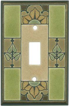 Art Nouveau Flower Ceramic Switch Plates Covers Outlet Decora Rocker Eclectic Tile Pinterest Flowers Rockers And Outlets