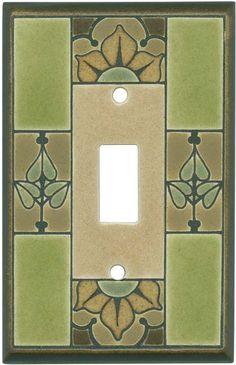 Floral Tile Green Ceramic Light Switch Plates, Outlet Covers, Wallplates