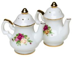 Royal Albert Old Country Roses TeapotShaped Salt and Pepper Shakers * Learn more by visiting the image link. #TeaPots