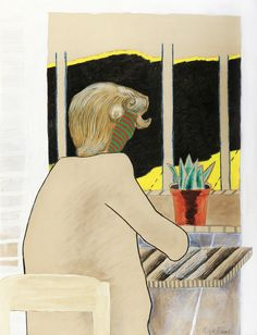 thunderstruck9: Roger Raveel (Belgian, 1921-2013), Zulma devant la fenêtre, 1952. Oil, crayon, ink and pencil on paper, 94 x 72 cm.