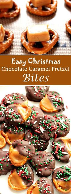 Candies are the perfect gift for holidays. Let& make Easy Christmas Chocolate Caramel Pretzel Bites with your kids. Christmas Pretzels, Christmas Snacks, Christmas Chocolates, Christmas Deserts Easy, Christmas Cookies Kids, Christmas Bark, Italian Christmas Cookies, Thanksgiving Desserts, Christmas Holidays