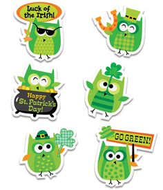 Whoo better to say Happy St. Patrick's Day than these cute owls! Give the luck of the Irish this St. Patrick's Day with adorable owls all dressed in their holiday green and featuring shamrocks, rainbows, and pots of gold.