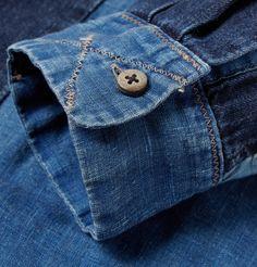 thedenimfoundry:  Horn button detail and cross-stitched cuffs. Katmandu Patchwork Denim Shirt by Kapital.