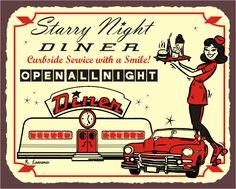 Starry Diner Skates Vintage Metal Art Automotive Diner Retro Tin - Vintage Metal Art - Ideas of Vintage Metal Art Vintage Diner, Retro Diner, Vintage Metal Signs, Vintage Ads, Fifties Diner, Vintage Travel, Advertising Signs, Vintage Advertisements, Skates Vintage