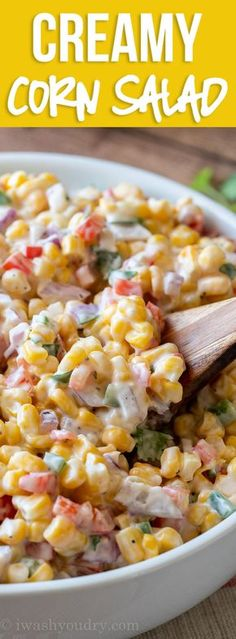This Creamy Corn Salad Recipe is a quick and easy side dish that& filled wi. This Creamy Corn Salad Recipe is a quick and easy side dish that& filled with crisp corn kernels that pop in a creamy sauce; perfect for summer potlucks and bbq& Corn Salad Recipes, Corn Salads, Vegetable Recipes, Vegetarian Recipes, Cooking Recipes, Healthy Recipes, Corn Salad Recipe Easy, Chicken Recipes, Beef Recipes