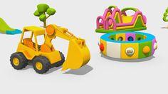 Cartoni Animati per Bambini - L'escavatore Max e la fantastica giostra: i grossi veicoli
