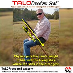 The TALO Freedom Seat is the pocket size hammock used with your walking stick or trekking poles. Take a load off with the TALO Freedom Seat by Maximum Win LLC, Innovations for the Outdoor Enthusiast. Made in the U.S.A., MaximumWin.com/shop #giftideas #hammockchair #hiking #painrelief #arthritis #kneepain #backpain #injuryrecovery #beprepared #life #camping #physics