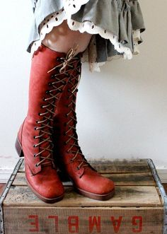 Vintage 1970's Cinnamon Leather Lace Knee High Boots. #Footwear #WomensBoots