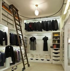 White closet, walk in closet, closet space, woodworking store, rockler wood House With Land, Dressing Room Closet, Dressing Rooms, Wooden Closet, Library Ladder, Walking Closet, White Closet, Master Bedroom Closet, Bedroom Closets