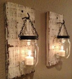 White barn wood mason jar candle holder, SET of two handmade - Home Decor Diy Home Decor Rustic, Handmade Home Decor, Unique Home Decor, Home Decor Items, Cheap Home Decor, Farmhouse Decor, Farmhouse Style, Handmade Lamps, Home Decoration