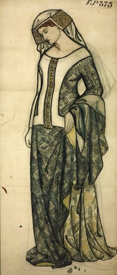 William Morris (1834‑1896); Figure of Guinevere, Date c.1858, Watercolour and graphite on paper