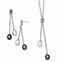 Sterling Silver FW Cultured Pearl Knot 18in. Necklace & Earring Set