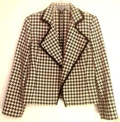 "Ellen Tracy Blazer Houndstooth Petite Sz 10 Open Front Shawl Collar Linda Allard #EllenTracy #Blazer ""Would love to see it with a black turtle or cowl neck and black Midi Length A-line skirt/boots"""