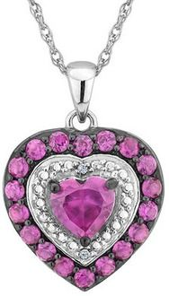 Created Ruby and Pink Sapphire Heart Pendant Necklace with Diamonds 1.0 Carat (ctw) in Sterling Silver with Chain